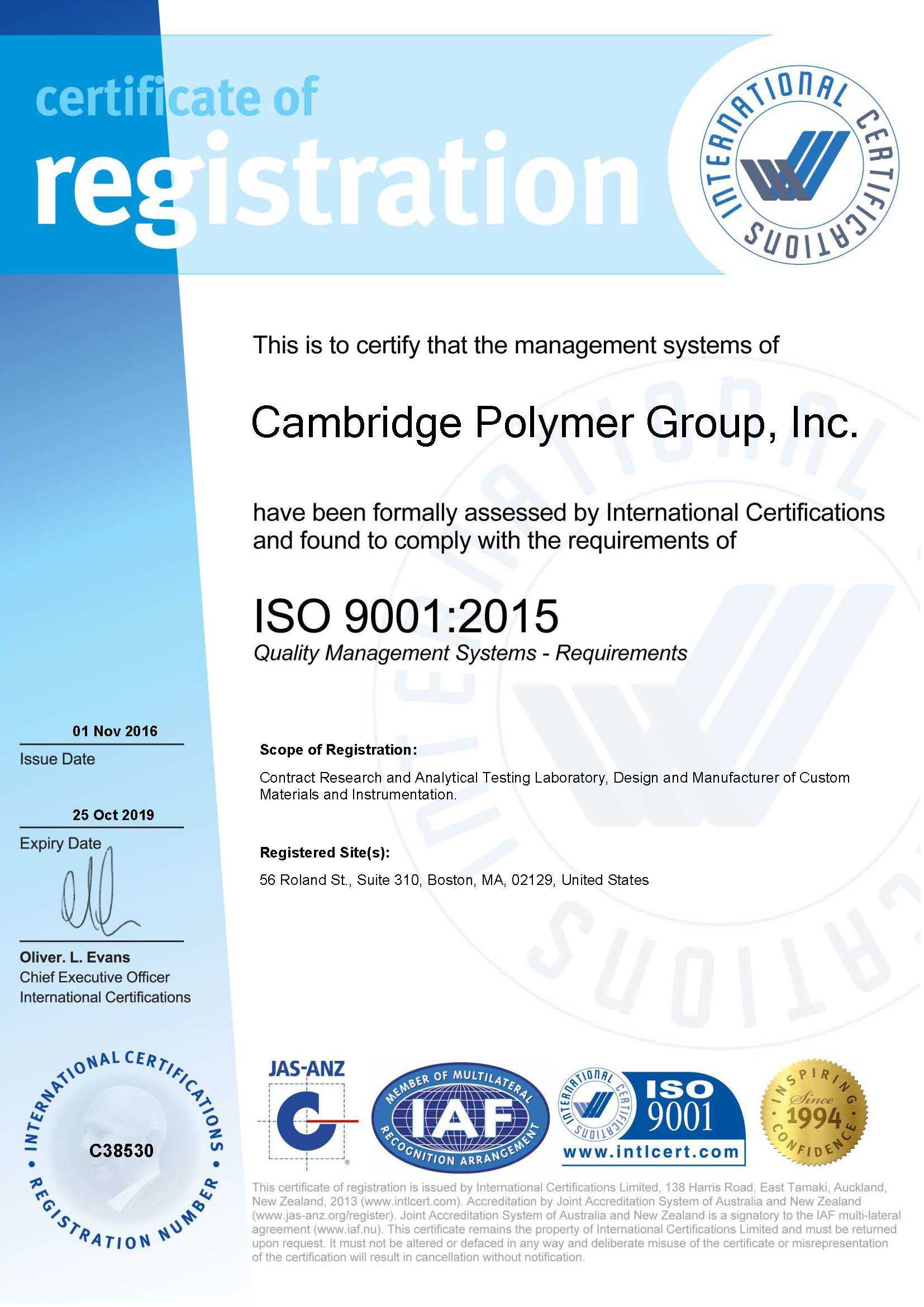 Cambridge Polymer Group Iso 9001 2015